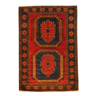 Herat Oriental Afghan Hand-knotted Semi-antique Tribal Balouchi Red/ Gold Wool Rug (4'3 x 6'3)