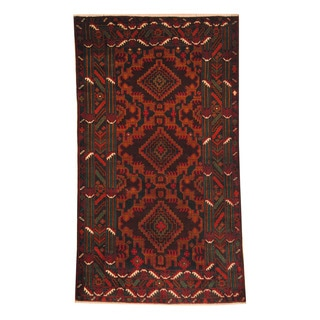 Herat Oriental Afghan Hand-knotted Semi-antique Tribal Balouchi Red/ Black Wool Rug (3'8 x 6'5)