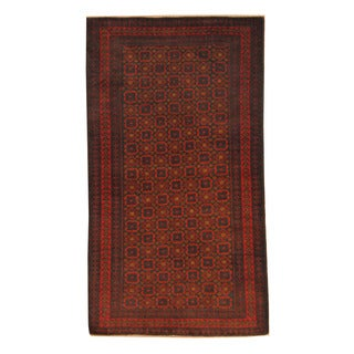 Herat Oriental Afghan Hand-knotted Semi-antique Tribal Balouchi Black/ Red Wool Rug (3'6 x 6'4)
