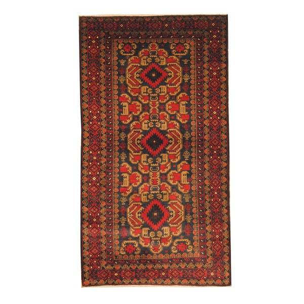 Herat Oriental Hand Tufted Wool Red Black Area Rug: Shop Herat Oriental Afghan Hand-knotted Semi-antique