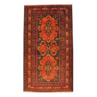 Herat Oriental Afghan Hand-knotted 1960s Semi-antique Tribal Balouchi Wool Rug (3'8 x 6'6)