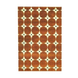 Herat Oriental Indo Hand-knotted Tribal Tibetan Rust/ Ivory Wool Rug (3'8 x 5'5)