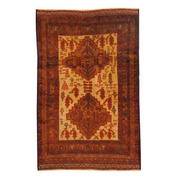 Handmade Herat Oriental Afghan 1960s Semi-antique Tribal Balouchi Wool Rug (Afghanistan) - 3'10 x 6'
