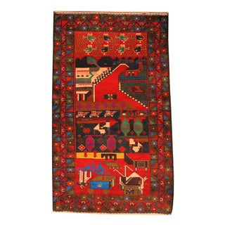 Herat Oriental Afghan Hand-knotted Semi-antique Tribal Balouchi Black/ Red Wool Rug (3'9 x 6'1)