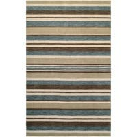 Couristan Mystique Bliss/ Ivory Teal Brown Wool Area Rug - 3'5 x 5'5