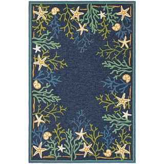 """Picadilly Coral Reef Blue-Green Indoor/Outdoor Area Rug - 3'6"""" x 5'6"""""""