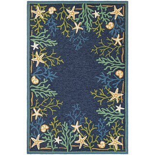 Picadilly Coral Reef/ Blue-Green Indoor/Outdoor Rug - 3'6 x 5'6
