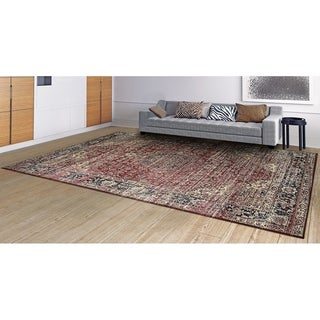 Martina Halston Red/Black/Oatmeal Area Rug - 3'11 x 5'3