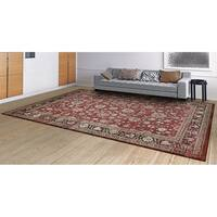 Couristan Zahara Farahan Amulet/Red-Black-Oatmeal Area Rug - 3'11 x 5'3