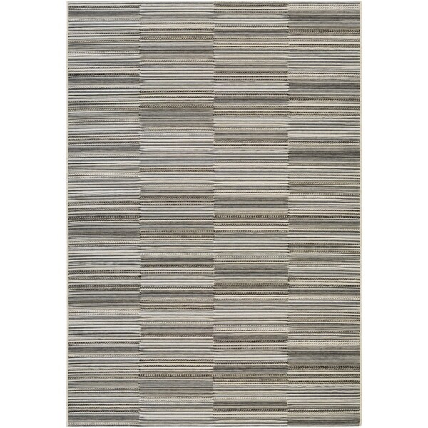 Couristan Cape Hyannis/Black-Gold Indoor/Outdoor Area Rug - 5'3 x 7'6