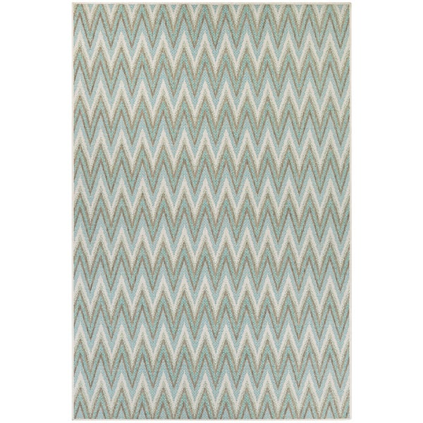 Monaco Avila Blue Mist-Ivory Indoor/Outdoor Area Rug - 7'6 x 10'9
