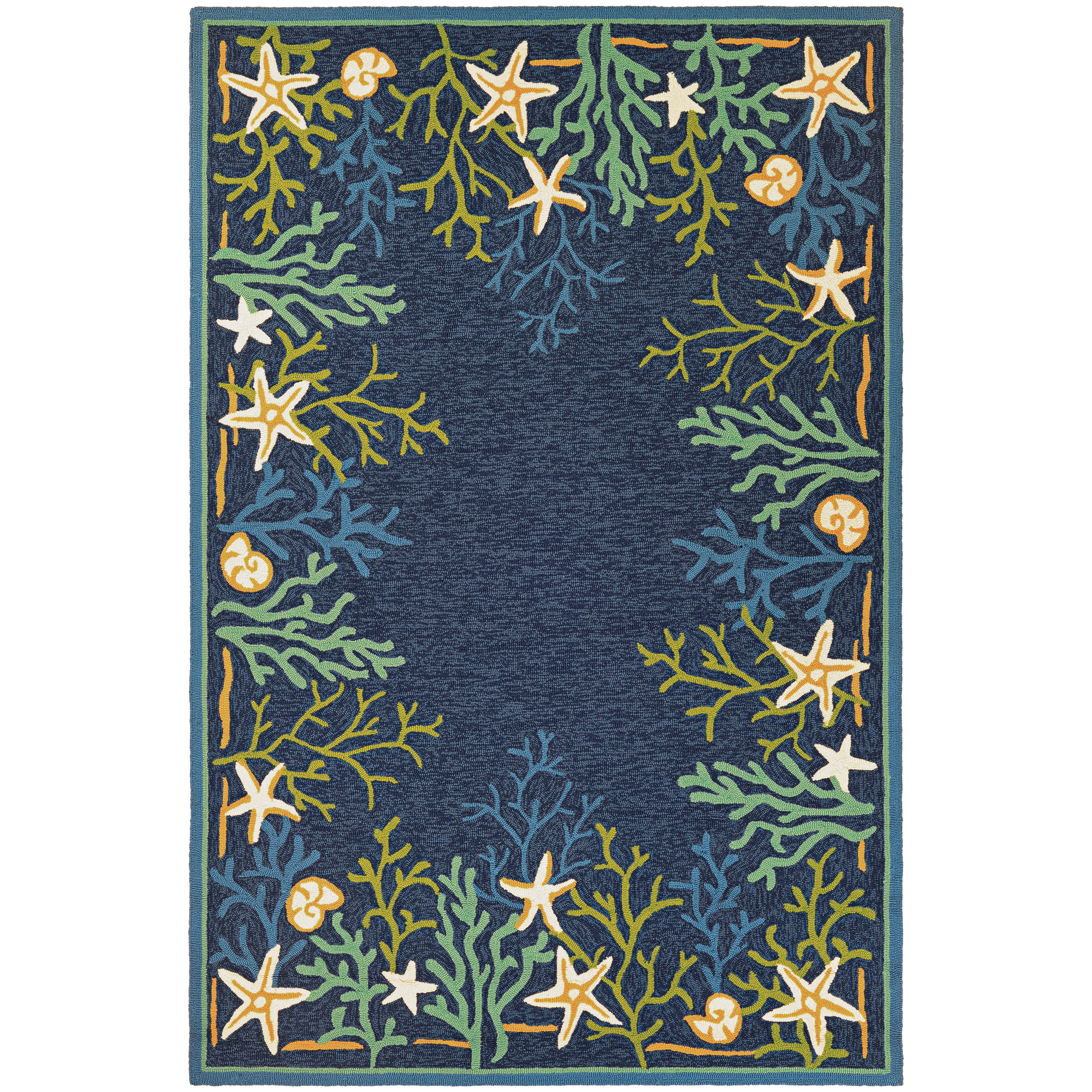 Picadilly Coral Reef Blue Green Indoor Outdoor Area Rug 8 X 11