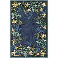 Picadilly Coral Reef/ Blue-Green Indoor/Outdoor Rug - 8' x 11'