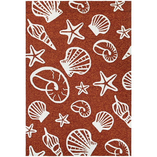 Couristan Outdoor Escape Cardita Shells Terracotta- Ivory Indoor/Outdoor Rug - 8' X 11'