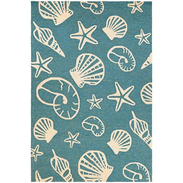 Couristan Outdoor Escape Cardita Shells Turquoise- Ivory Indoor/Outdoor Rug - 8' x 11'