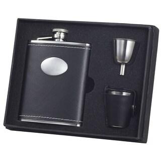 Visol Eclipse Black Leather Flask Gift Set