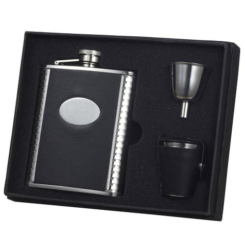 Visol Tux Ribbed Design Black Leather Groomsmen Flask Gift Set
