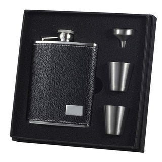 Visol Eclipse S Black Leather Supreme Flask Gift Set