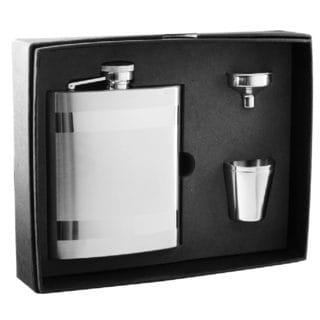 Visol Dual Polished Stripes Satin Flask Gift Set