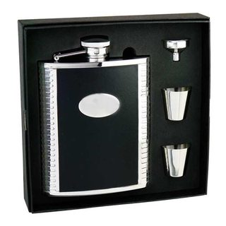 Visol Tux Ribbed Design Black Leather Deluxe Large Flask Gift Set