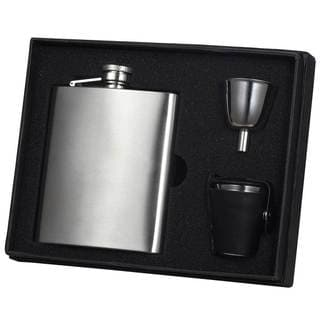 Visol Derek Stainless Steel Leather Cover Satin Flask Gift Set