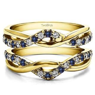 twobirch 10k yellow gold 15ct tdw diamond and sapphire infinity ring guard enhancer - Wedding Ring Enhancer