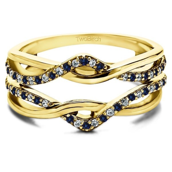 TwoBirch 10k Yellow Gold 1 5ct TDW Diamond and Sapphire Infinity