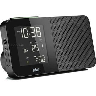 braun black digital lcd global fm am radio alarm clock. Black Bedroom Furniture Sets. Home Design Ideas