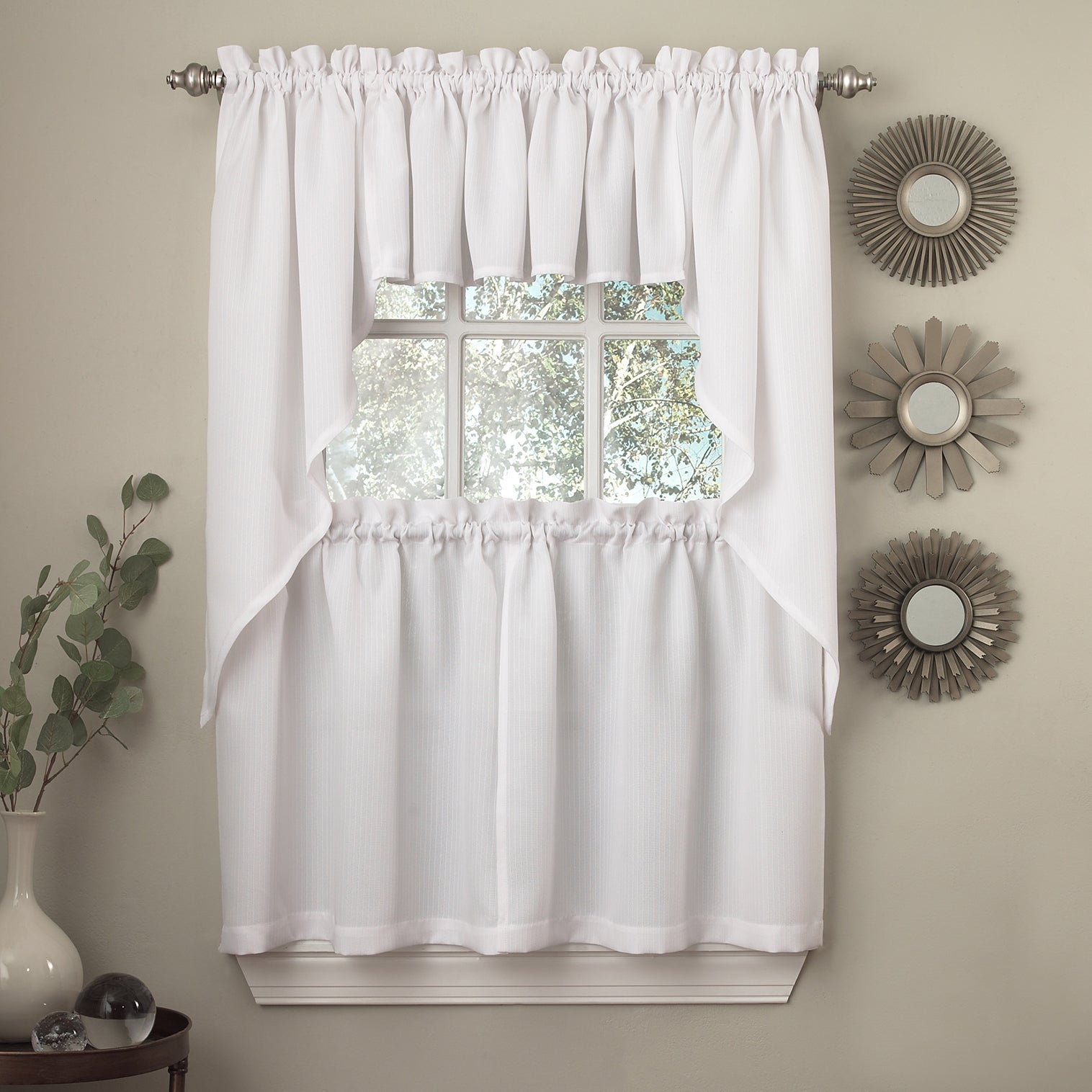 Incroyable Opaque Ribcord Kitchen Curtain Pieces   Tiers/ Valances/ Swags