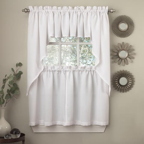 Opaque Ribcord Kitchen Curtain Pieces - Tiers/ Valances/ Swags (As Is Item)