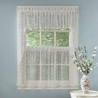 Elegant White Priscilla Lace Kitchen Curtain Pieces - Tiers/ Swag/ Tailored Valances