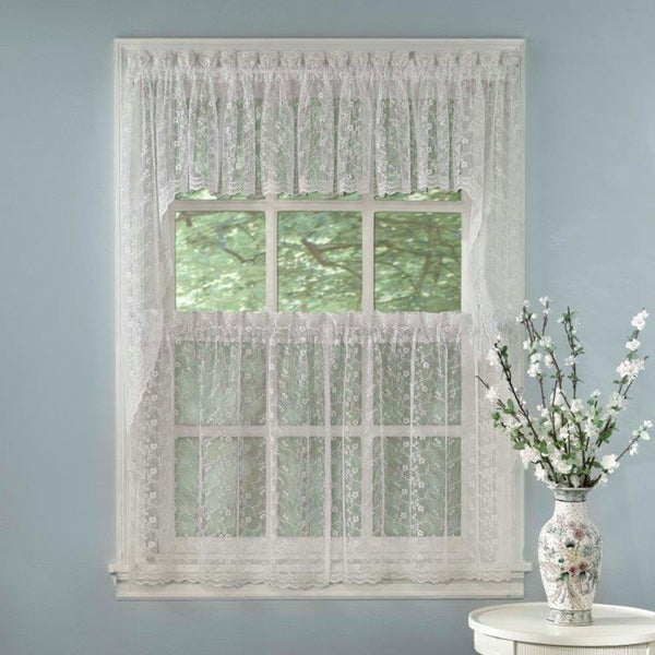 elegant white priscilla lace kitchen curtain pieces tiers swag tailored valances - Kitchen Curtain