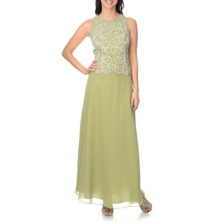 J Laxmi Women's Celery and Silver Mock 2-piece Gown