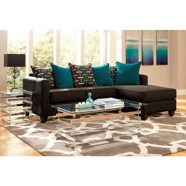 American Freight And Furniture Vendor Signup: Shop 2-piece Charcoal Black Chenille Reversible Chaise