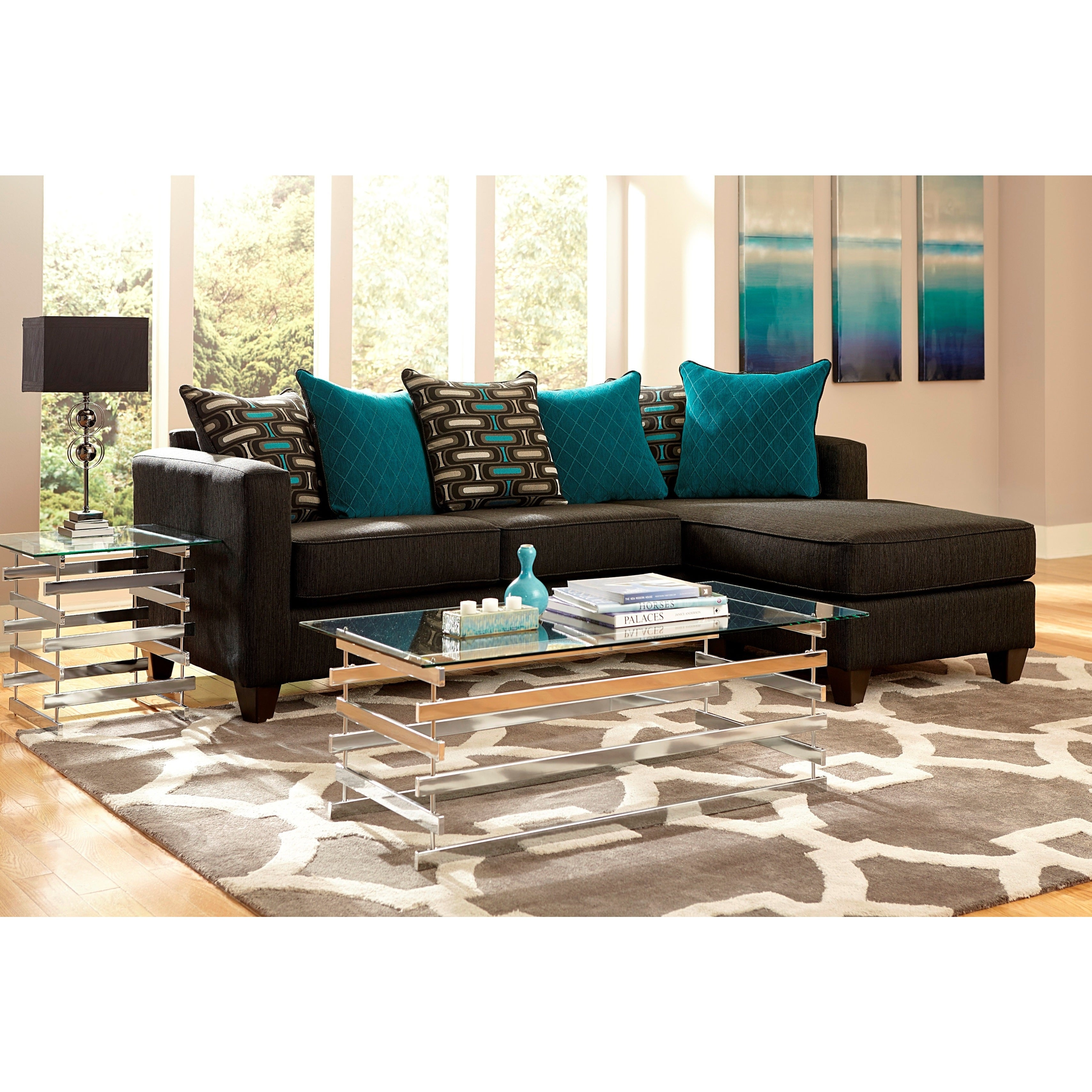2-piece Charcoal Black Chenille Reversible Chaise Section...