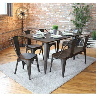 oregon 6 piece industrial farmhouse dining set - Dining Table And Chair Set