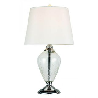 Cambridge 1-light Polished Chrome Table Lamp with White Linen