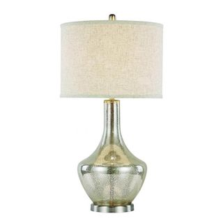 Cambridge 1-light Brushed Nickel 33-inch Table Lamp with Tan Linen