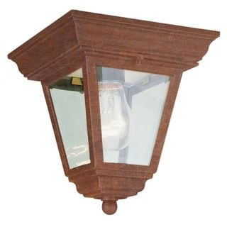 Cambridge Rust Finish 1-light Flush Mount with Clear Beveled Shade