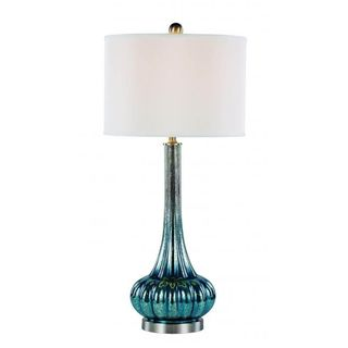 Cambridge 1-light Blue 35.5-inch Table Lamp with White Linen