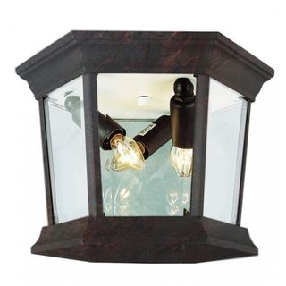 Cambridge Black Copper Finish 1-light Flush Mount with Clear Beveled Shade