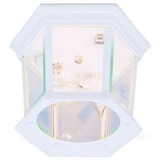 Cambridge White Finish 3-light Flush Mount with Clear Beveled Shade