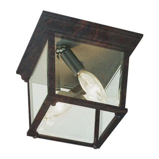 Cambridge Black Copper Finish 3-light Flush Mount with Clear Beveled Shade