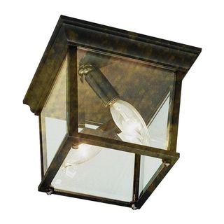 Cambridge Black Gold Finish 2-light Flush Mount with Clear Beveled Shade