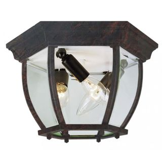 Cambridge Black Copper 3-light Flush Mount with Clear Beveled Shade
