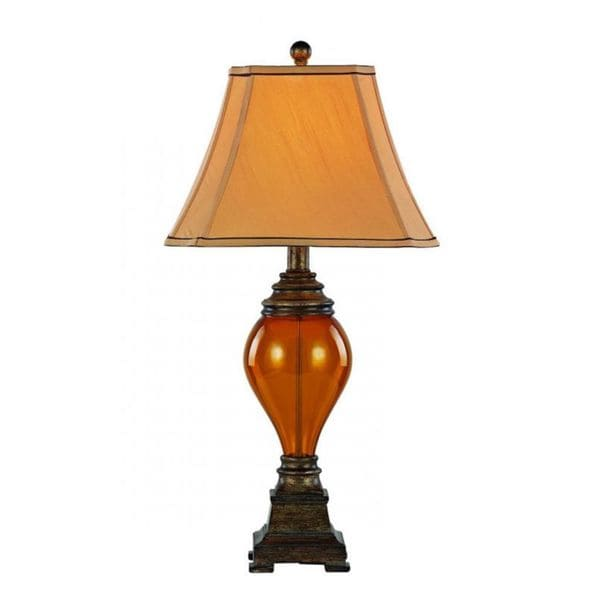 Cambridge 1-light Walnut Table Lamp with Beige Linen