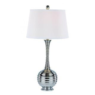 Cambridge 1-light Polished Chrome 32-inch Table Lamp with White Linen