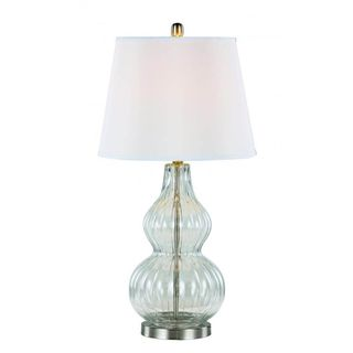 Cambridge 1-light Brushed Nickel 32-inch Table Lamp with White Linen
