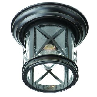 Cambridge Rubbed Oil Bronze Finish Flush Mount with Seeded Clear Shade