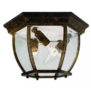 Cambridge Black Gold 3-light Flush Mount with Clear Beveled Shade
